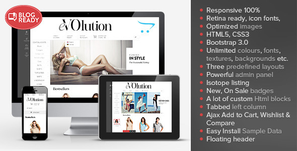 ThemeForest eVOlution Premium Responsive OpenCart Theme 6663000