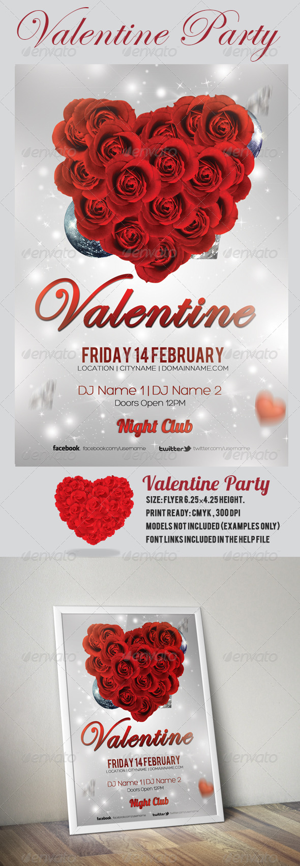 GraphicRiver Valentine Party Flyer Template 6703479