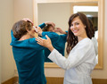 Ophthalmologist Assisting Woman To Insert Contact Lens - PhotoDune Item for Sale