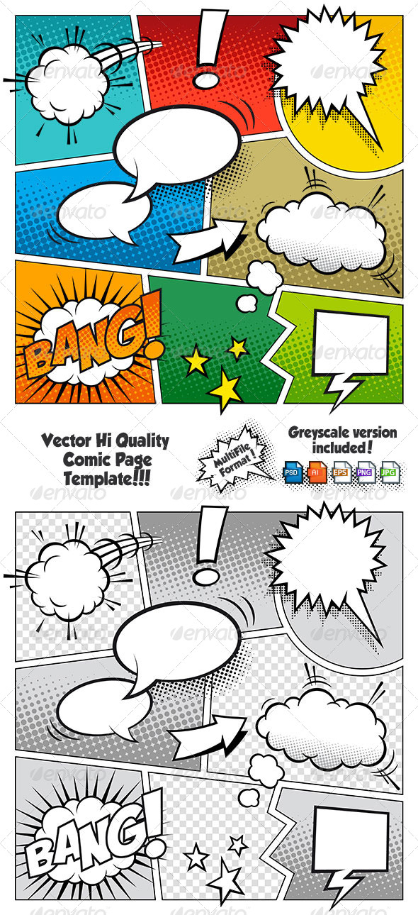 GraphicRiver Color Comic Book Page Template 6703565