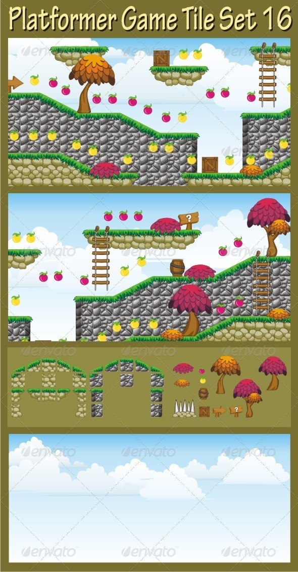 GraphicRiver Platformer Game Tile Set 16 6704140