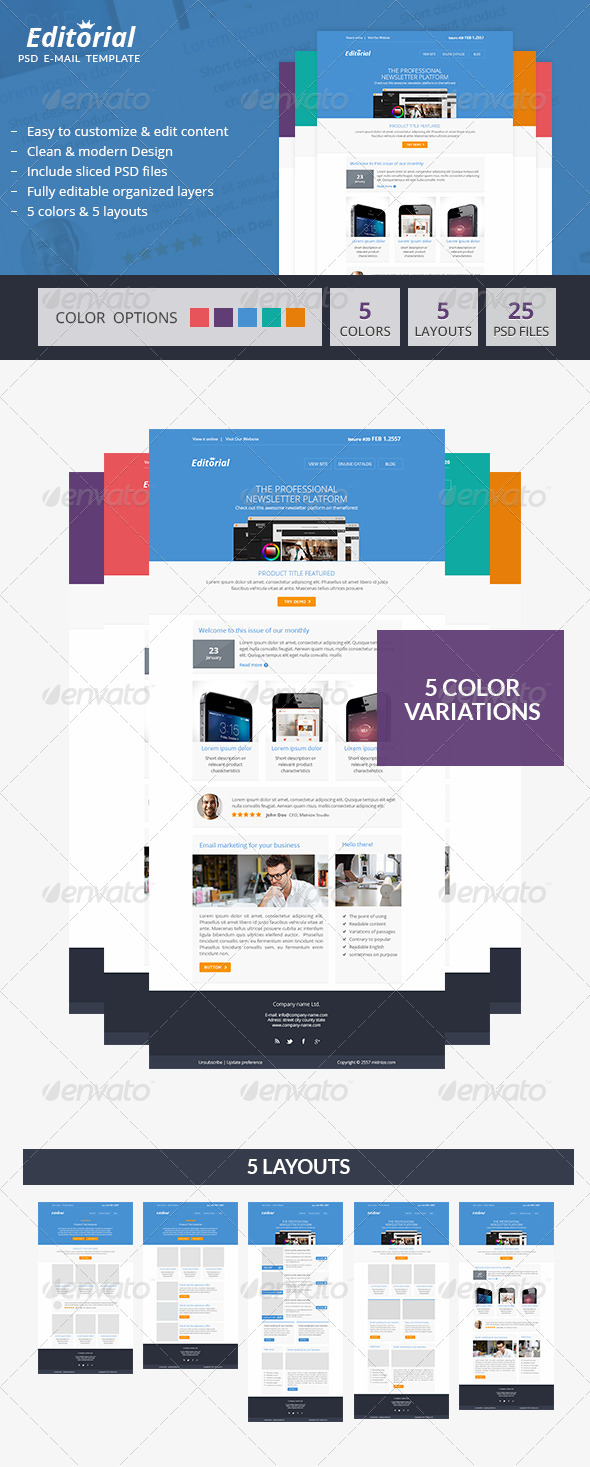 GraphicRiver Editorial Minimal PSD Email Newsletter Template 6704172