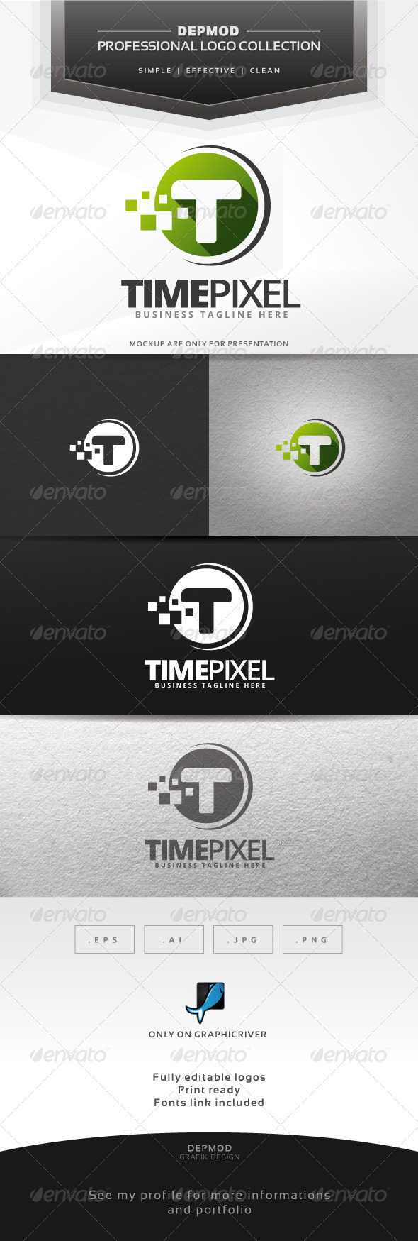 GraphicRiver Time Pixel Logo 6704261