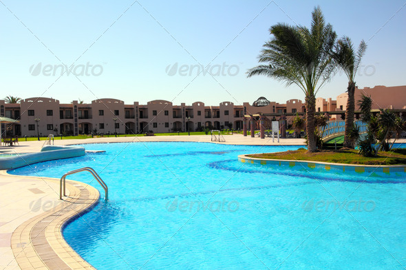 swimming pool in hotel - Stock Photo - Images