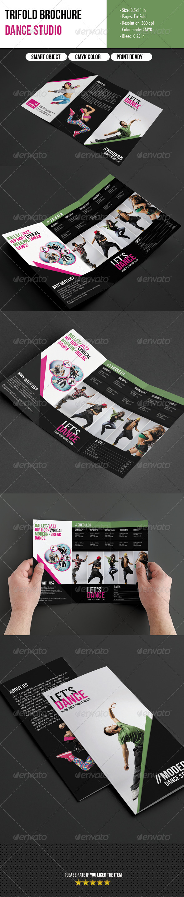 GraphicRiver Trifold Brochure-Dance Studio 6704614