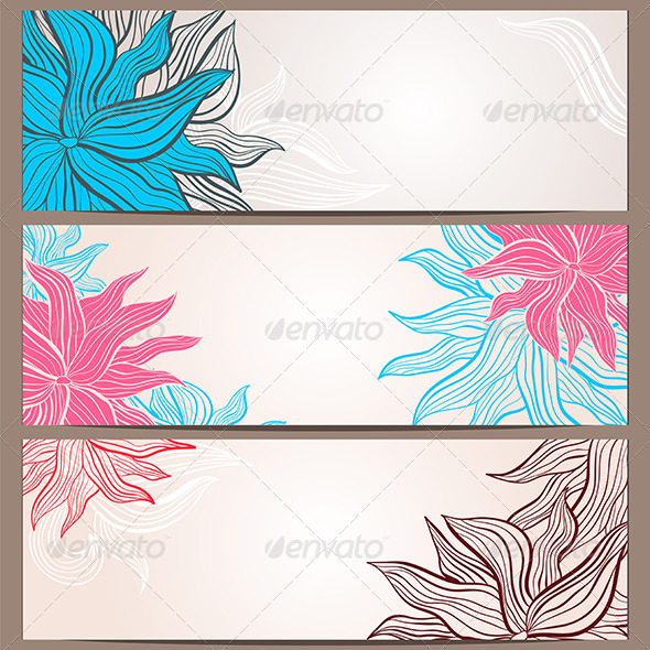 GraphicRiver Set of Three Floral Banners 6704850