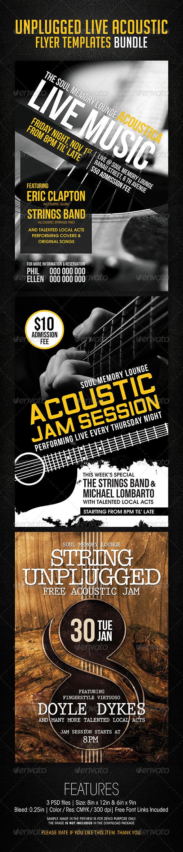 GraphicRiver Unplugged Live Acoustic Flyer Templates Bundle 6704858