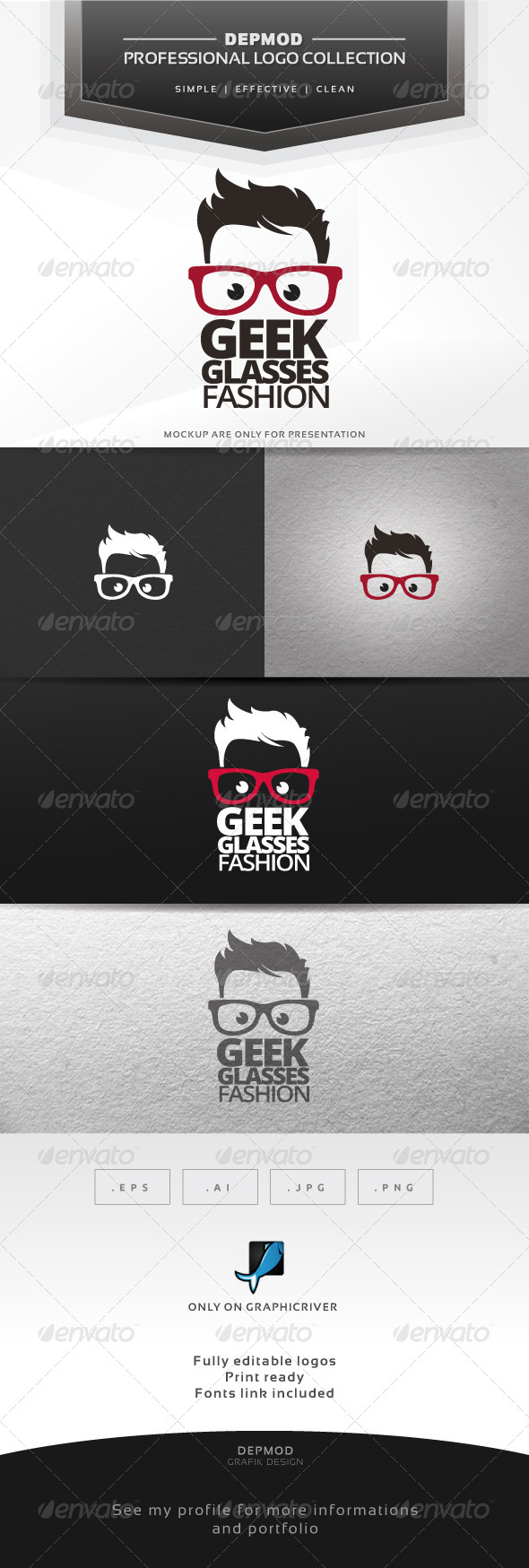 GraphicRiver Geek Glasses Fashion Logo 6705176