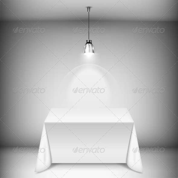 GraphicRiver Table with Tablecloth Illuminated by Spotlight 6705525