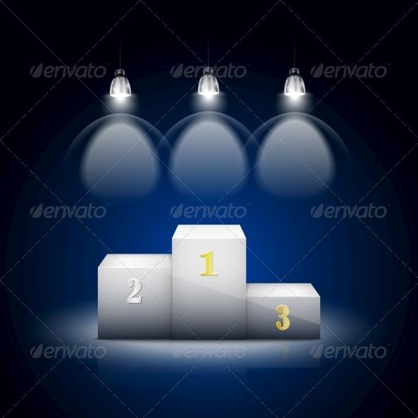 GraphicRiver White Pedestal Illuminated by Spotlights 6705530