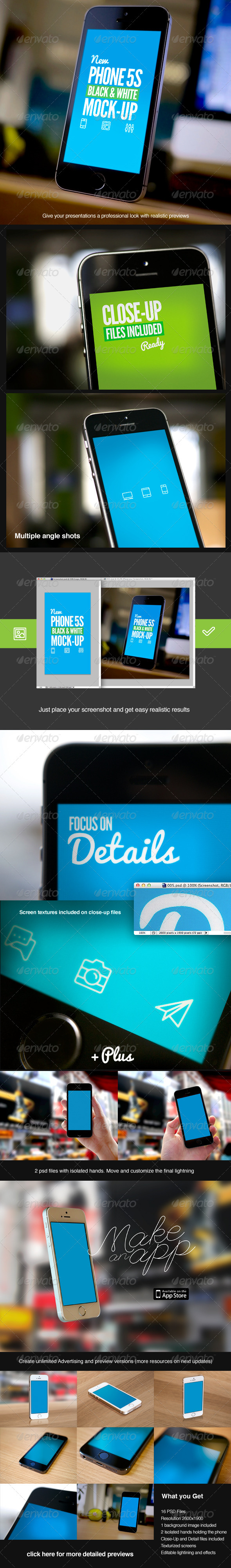 GraphicRiver New Phone Black and White 5S Mock-Up 6705652