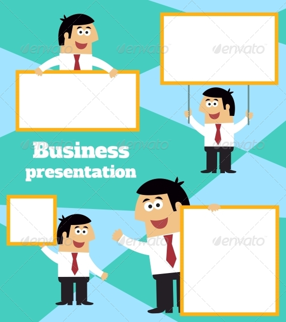 GraphicRiver Businessman with Banner 6705679