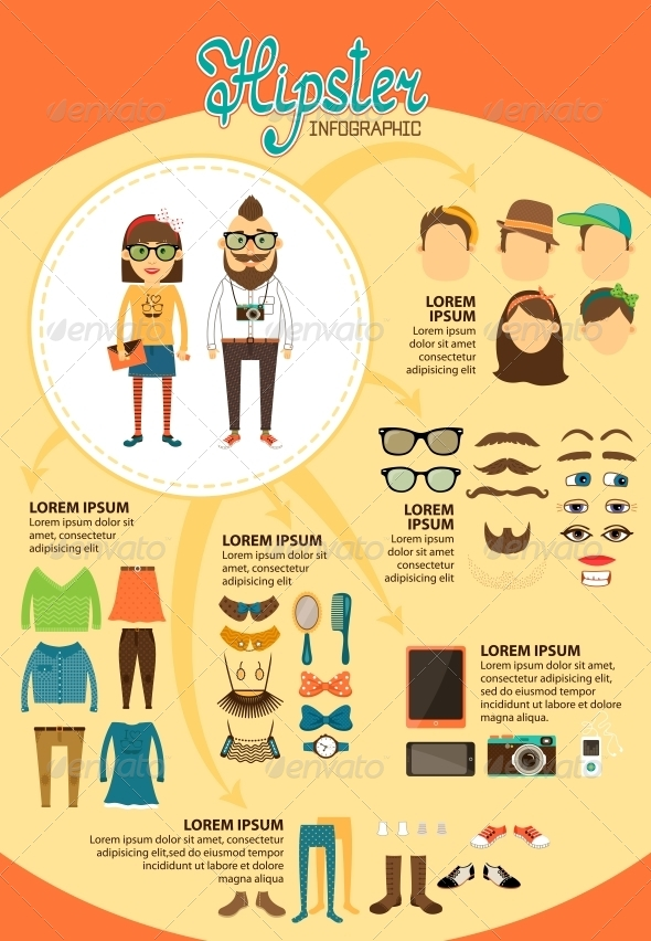 GraphicRiver Hipster Infographics with Fashion Design Elements 6705682
