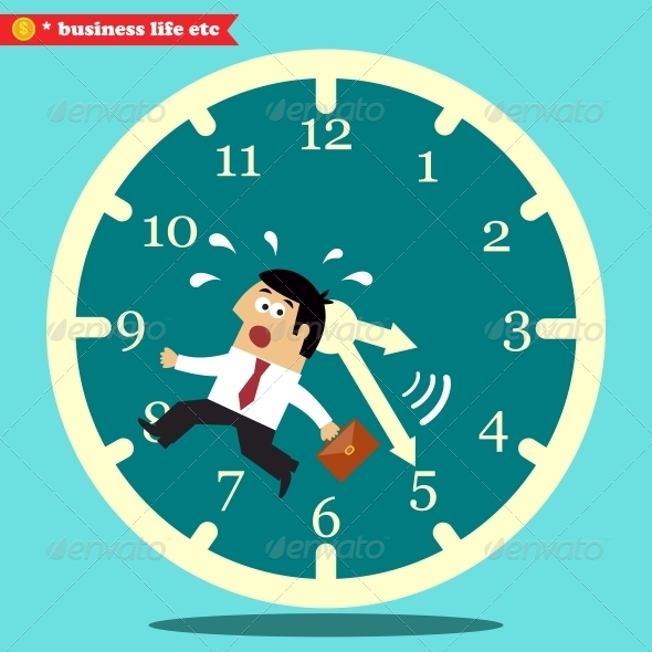 GraphicRiver Worried Executive Running Against the Time 6705694