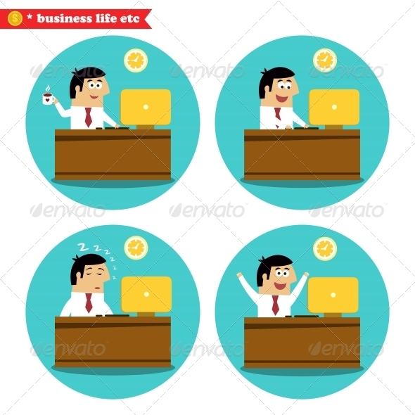 GraphicRiver Office Worker at the Desk 6705696