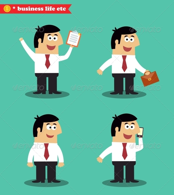 GraphicRiver Businessman in Poses Standing Set 6705699