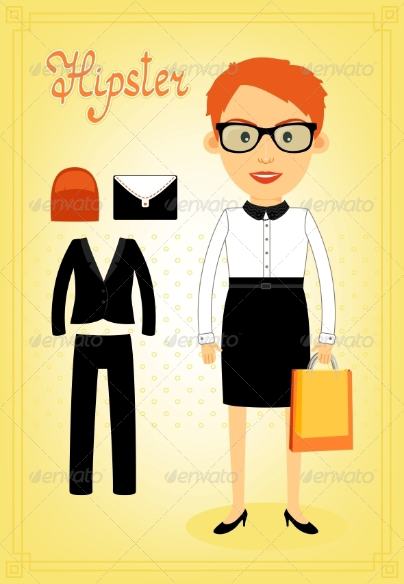 GraphicRiver Hipster Character Elements for Business Woman 6705708