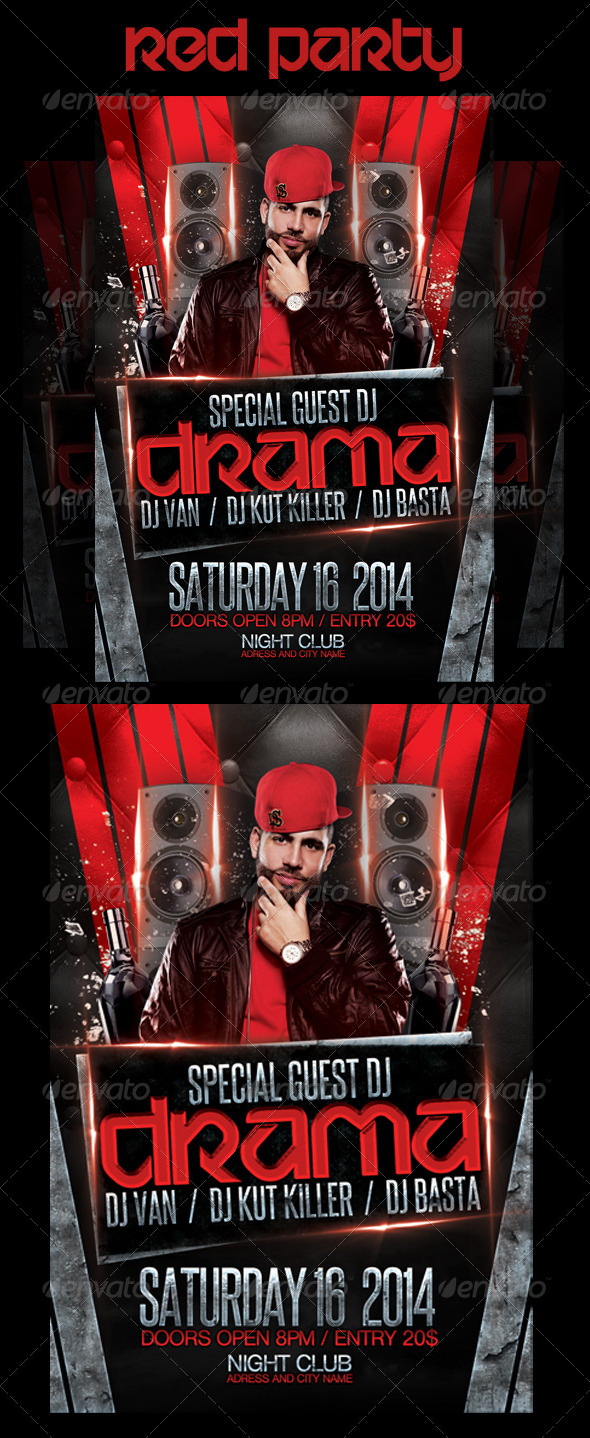 GraphicRiver Red party flyer 6705903