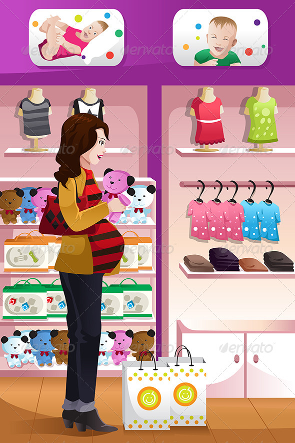 GraphicRiver Pregnant Woman Shopping Baby Stuff 6705998