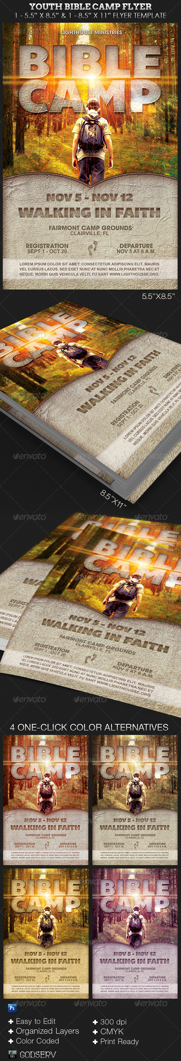 Youth Bible Camp Church Flyer Template - Church Flyers
