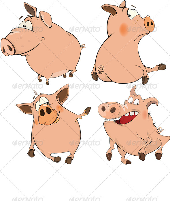 GraphicRiver Set of Cheerful Pigs Cartoon 6706426