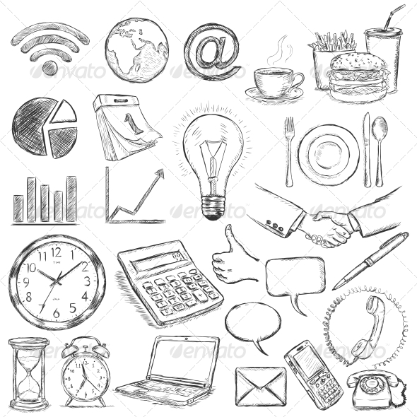 GraphicRiver Vector Set of 25 Hand Draw Business Icons 6708148