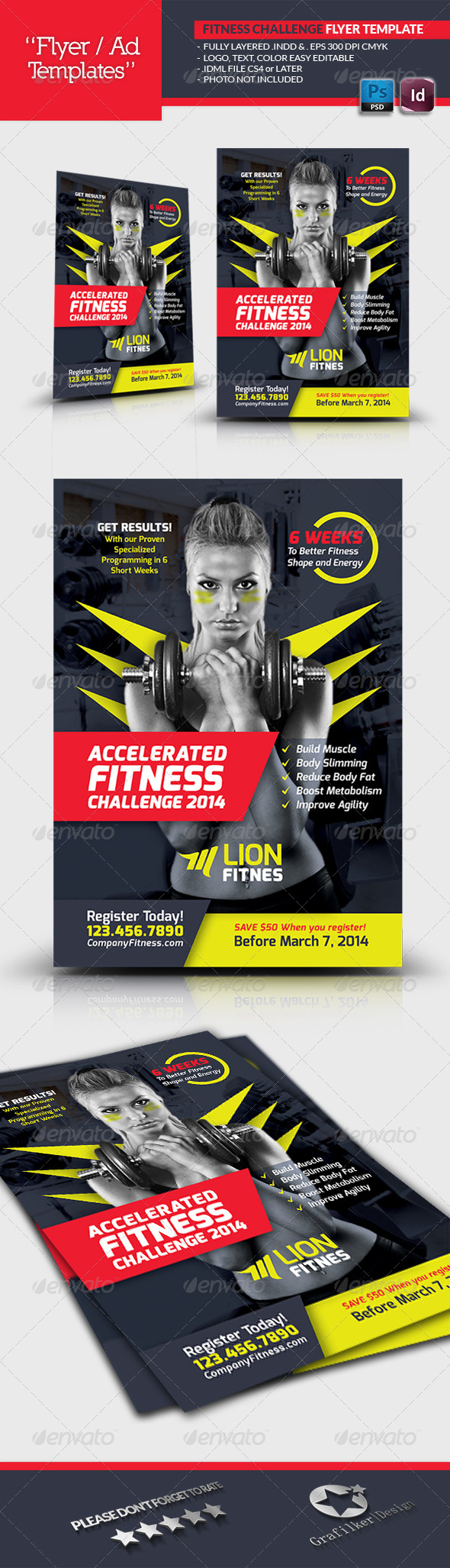 GraphicRiver Fitness Challenge Flyer Template 6708833