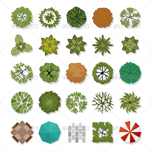 GraphicRiver Trees Top View for Landscape Design 6708853