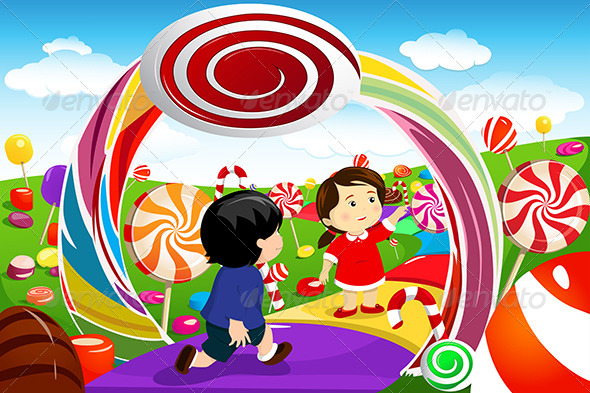 GraphicRiver Kids Playing in a Candy Land 6708860