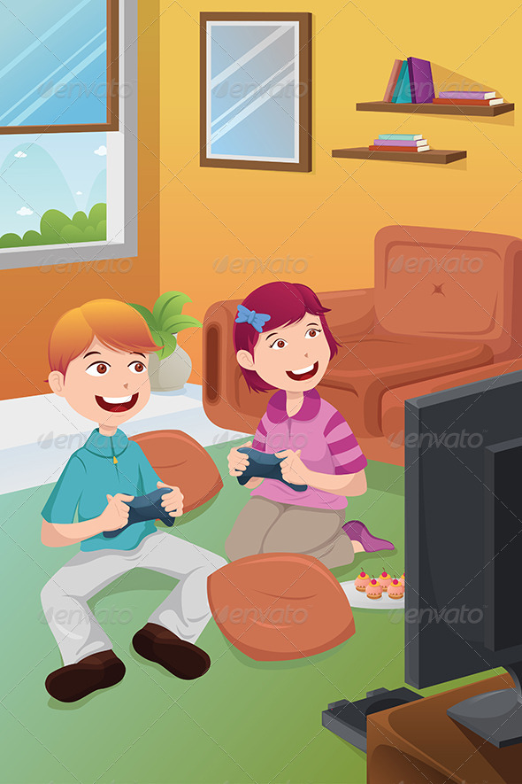 GraphicRiver Kids Playing Video Games at Home 6708919