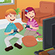 Kids Playing Video Games at Home - GraphicRiver Item for Sale
