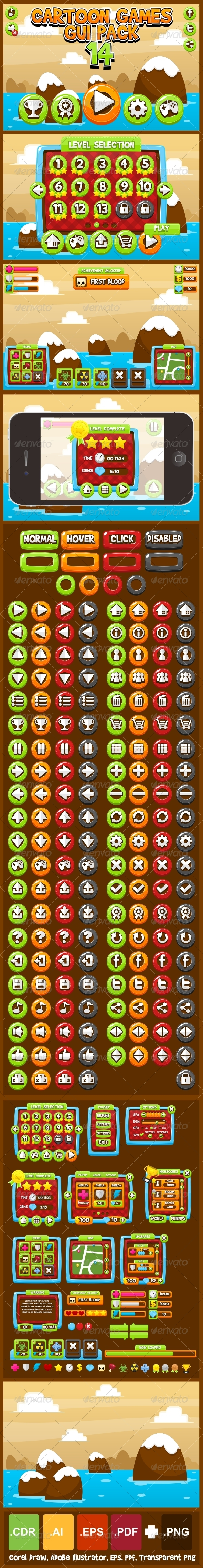 GraphicRiver Cartoon Games GUI Pack 14 6709091