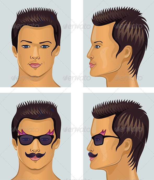 GraphicRiver Showman Brunet Head with Mustache and Sunglasses 6709330