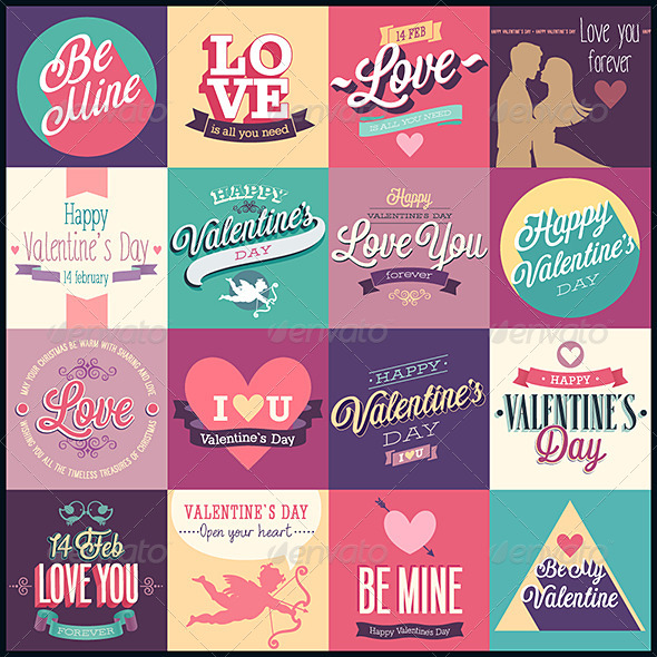 GraphicRiver Valentines Day Set Emblems and Decorative Elements 6709332