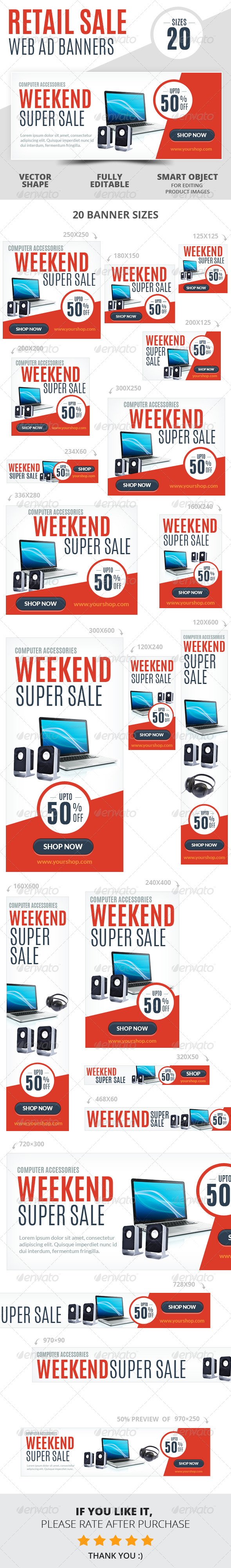 GraphicRiver Weekend Super Sale Retail Web Ad Banners 6709467