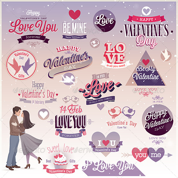 GraphicRiver Valentines Day Set Emblems and Decorative Elements 6709805