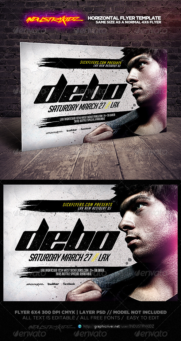 GraphicRiver Electro House DJ Horizontal Flyer Template 6709817