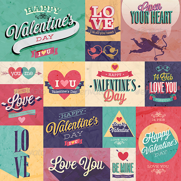 GraphicRiver Valentines Day Set Emblems and Decorative Elements 6709903