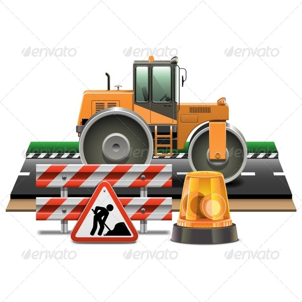GraphicRiver Vector Road Construction with Road Roller 6709946