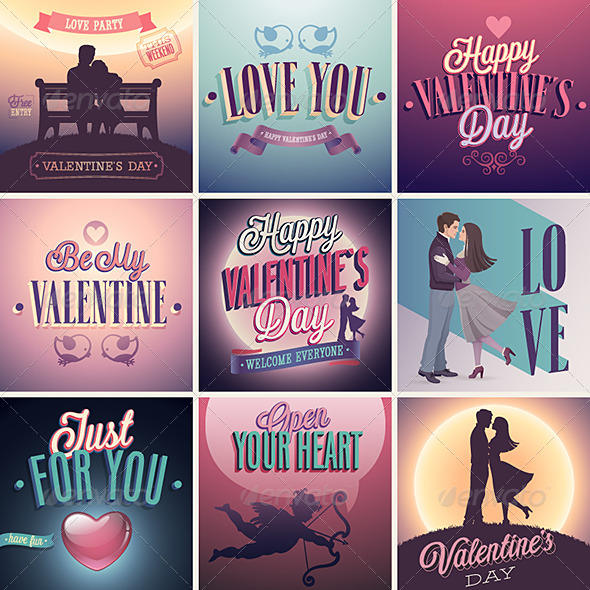 GraphicRiver Valentines Day Set Emblems and Decorative Elements 6710062