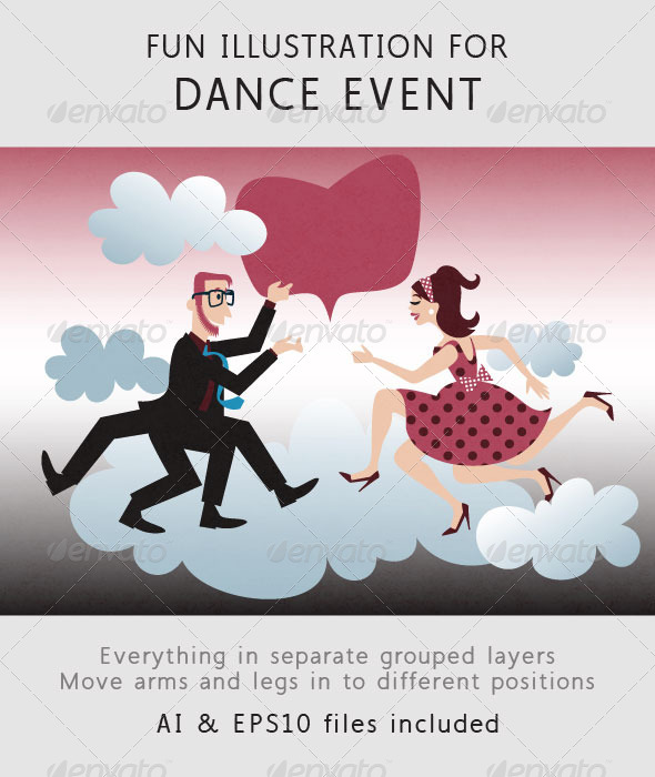 GraphicRiver Dance Party Couple Guy and Girl Dancing 6710109