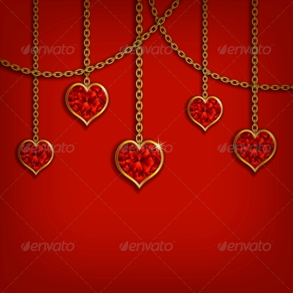 GraphicRiver Hearts on Chains Valentine s Day Background 6710308