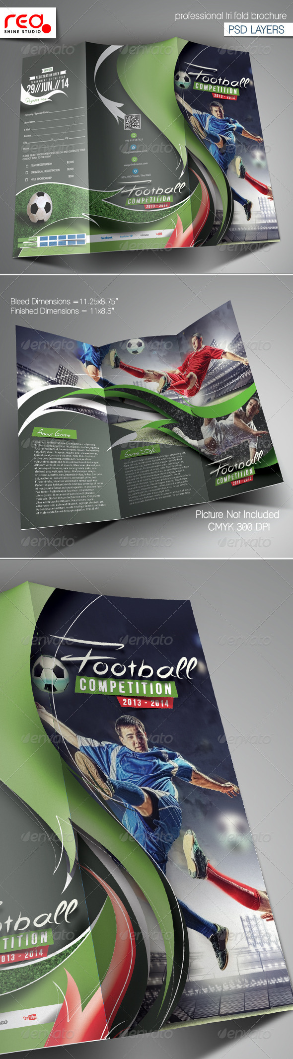 GraphicRiver Football Competition Trifold Brochure Template 6711819