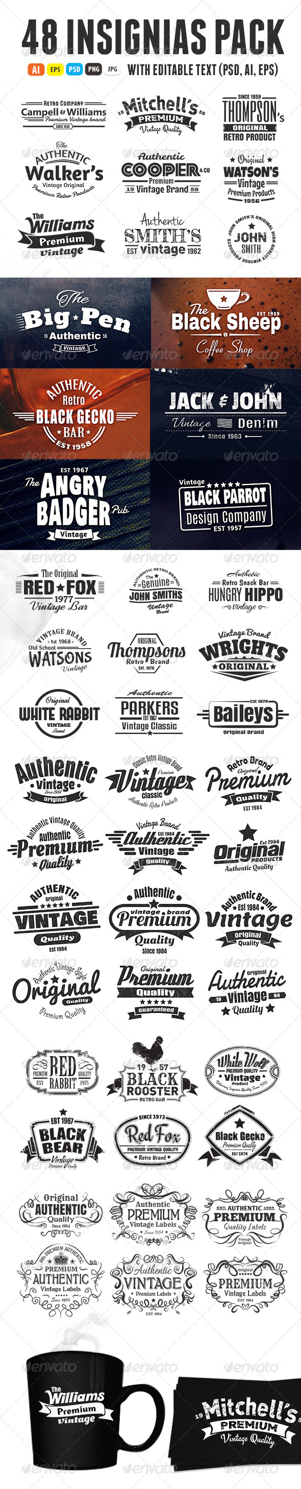 GraphicRiver 48 Insignias Or Labels Bundle 6696802