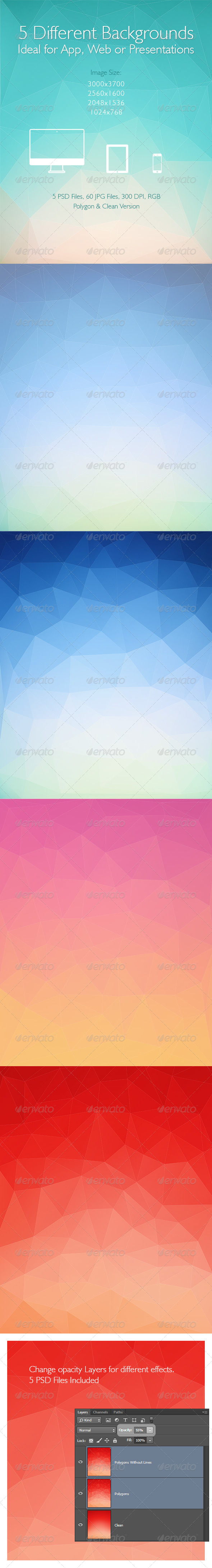 GraphicRiver Polygon Backgrounds 5 Different Images 6711929