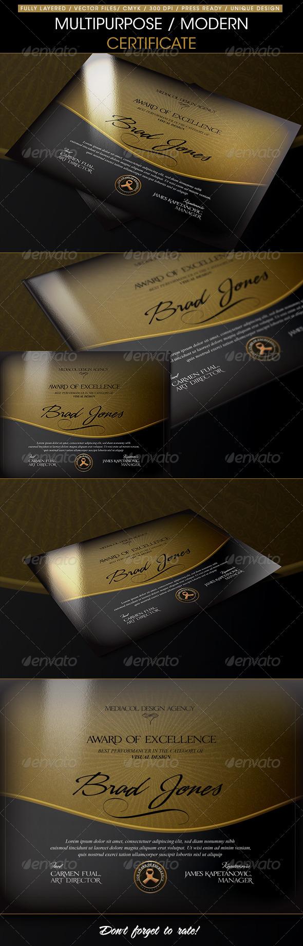 GraphicRiver Multipurpose Modern Certificate 6712359
