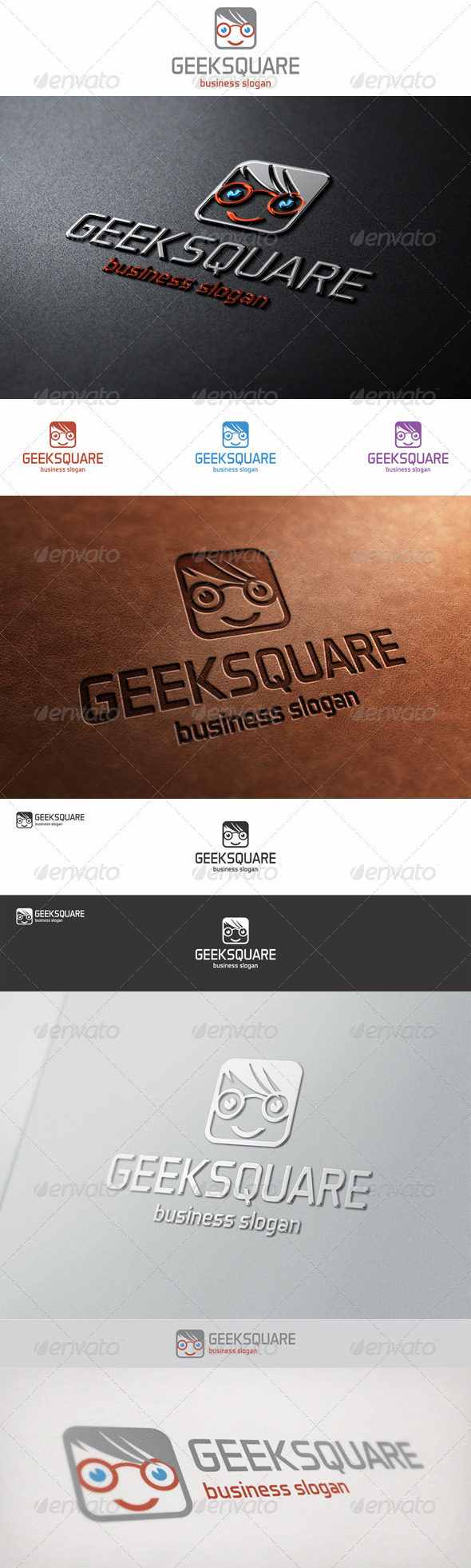 GraphicRiver Geek Square Face Logo 6712365