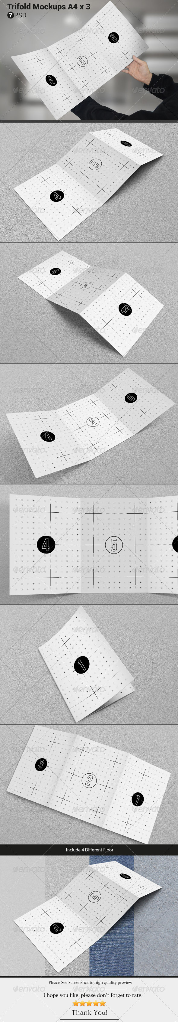 GraphicRiver Trifold Mockups A4 x 3 6712574