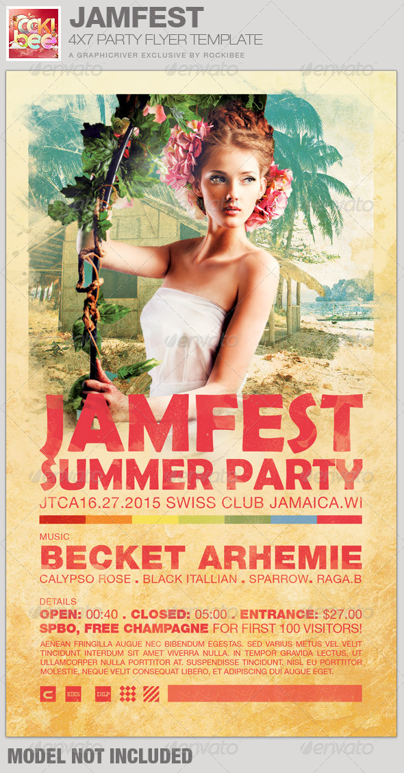 Jamfest Summer Party Flyer Template - Clubs & Parties Events