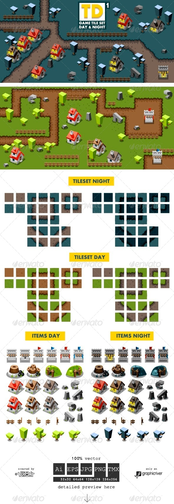 GraphicRiver Tower Defense Game Tile Set One 6713304